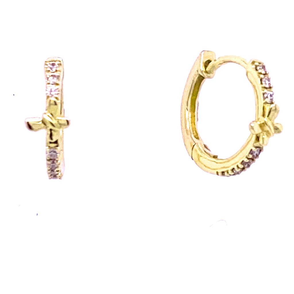 Butterfly Accented Diamond Huggie Hoop Earrings 14K Gold