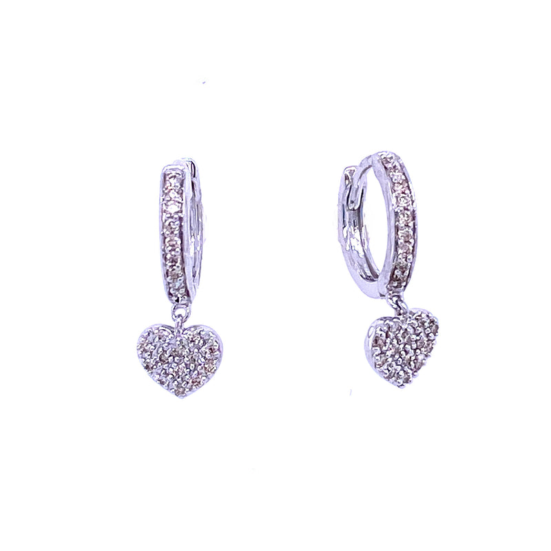 Heart Diamond Pave Huggie Mini Hoop Earrings 14K Gold (Only 2 Left!)