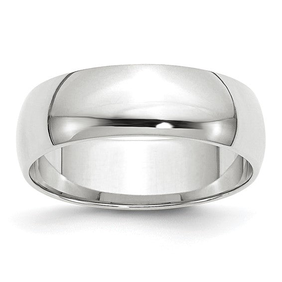 Half Round Traditional Comfort Fit Wedding Band 14K White Gold