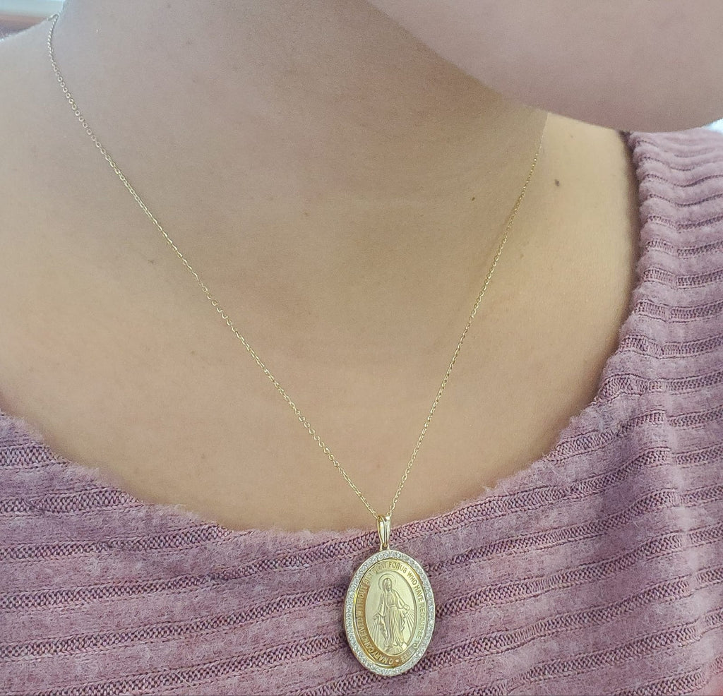 Large Diamond Miraculous Medal Necklace 14K Yellow Gold