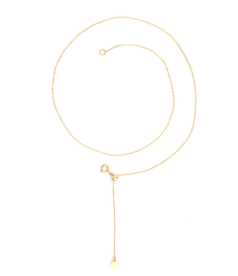 Adjustable Single Chain Necklace 14K Yellow Gold