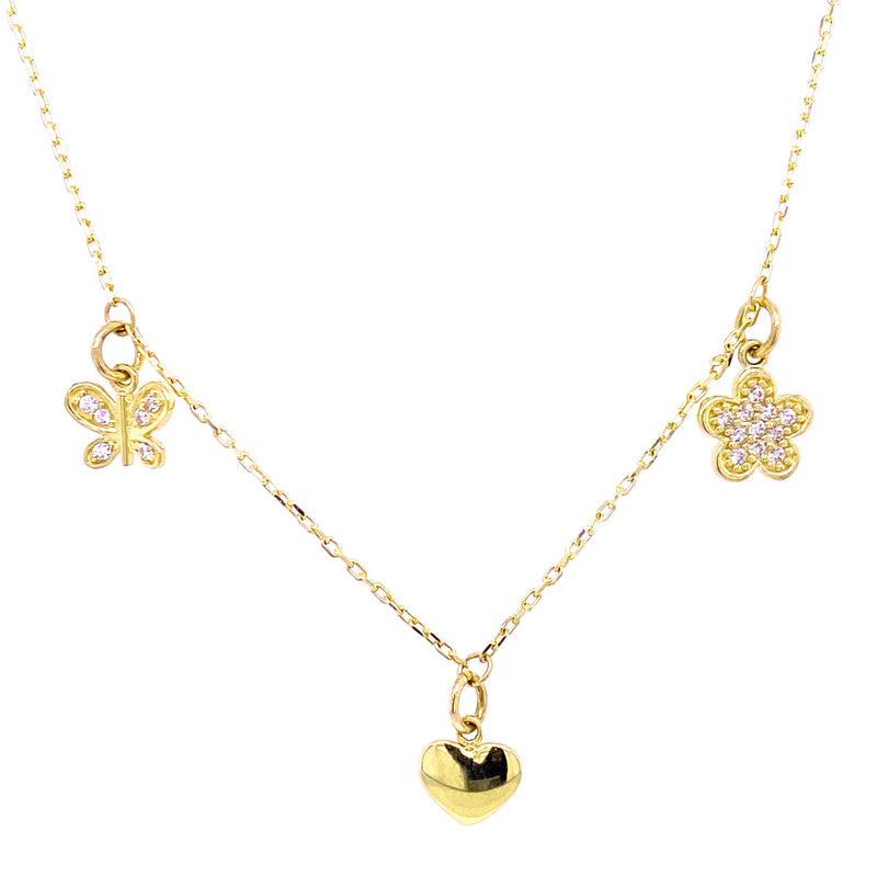 Dangling Cubic Zirconia Butterfly, Heart and Flower Choker Necklace 14K Yellow Gold