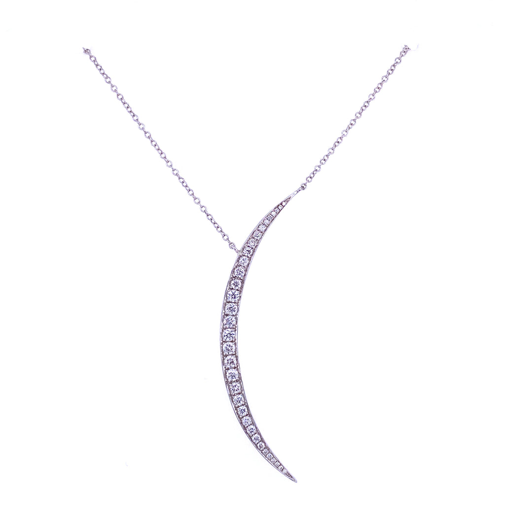 Large Diamond Thin Crescent Moon Necklace 14K White Gold