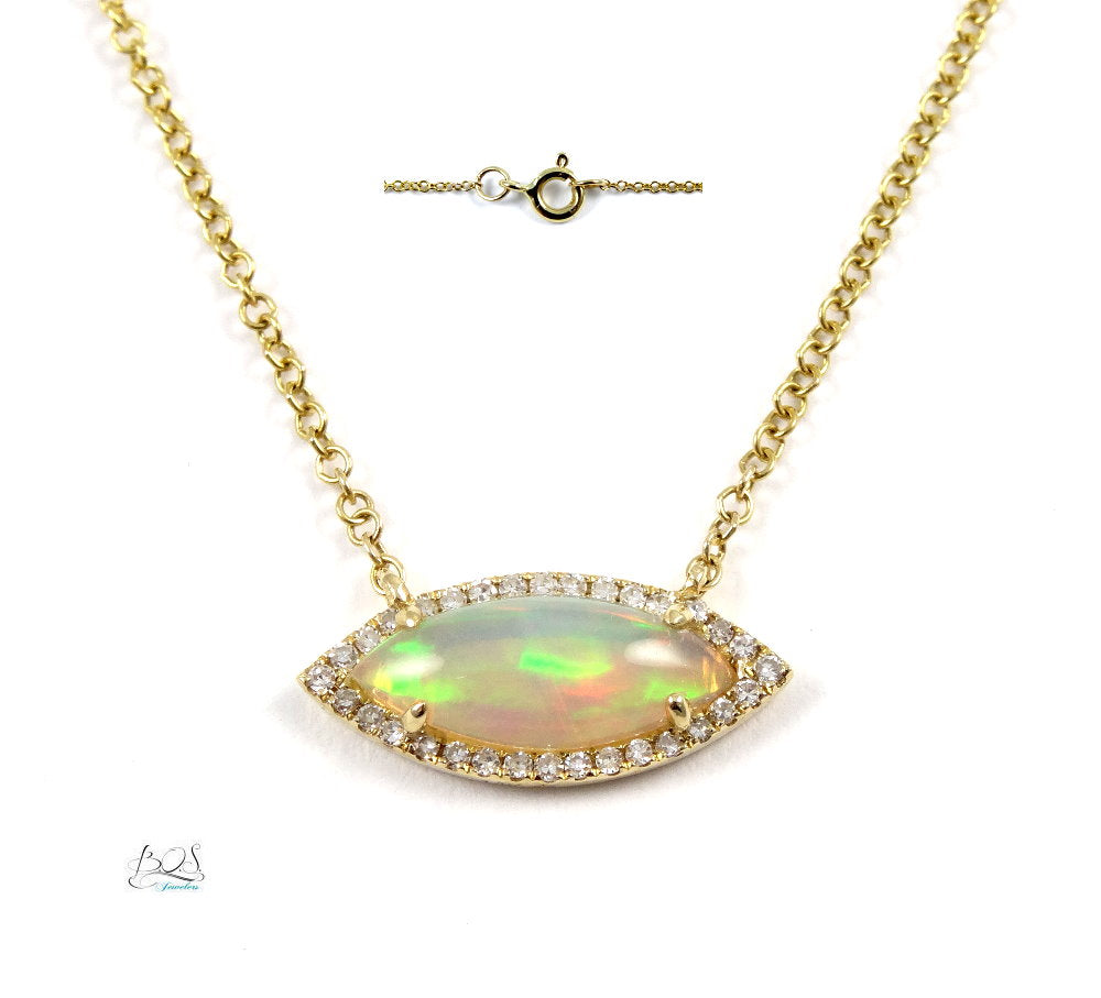 Marquise Opal & Diamond Necklace