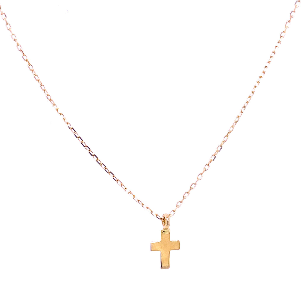 Extra Miniature Plain Cross Necklace 14K Yellow Gold