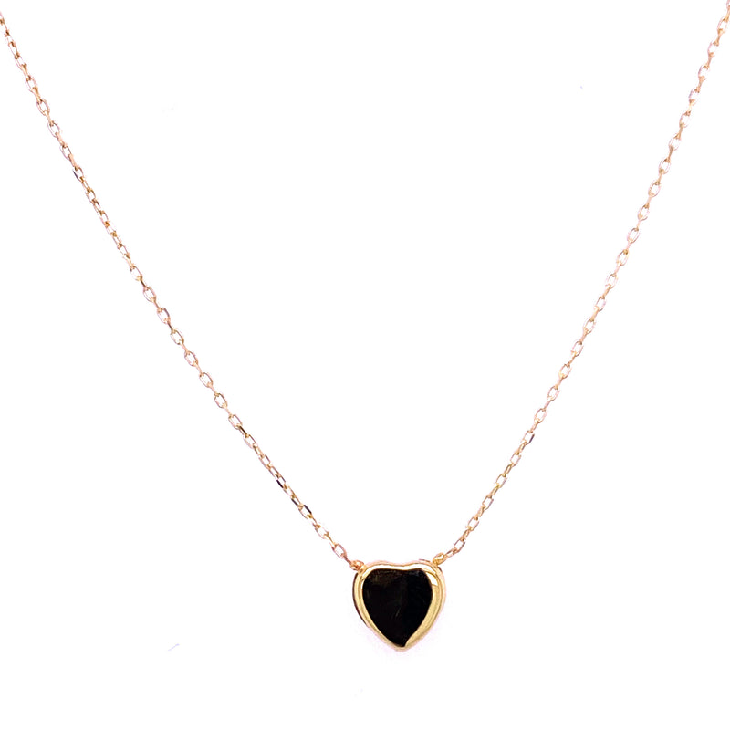 Miniature Single Heart Necklace 14K Yellow Gold