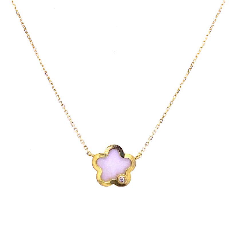 Mother of Pearl Flower with Diamond Accent Necklace 14K Yellow Gold