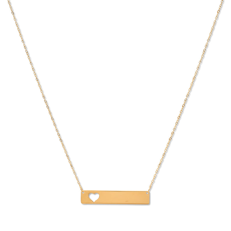 Engrave-able Plate with Carved-Out Heart Necklace 14K Yellow Gold