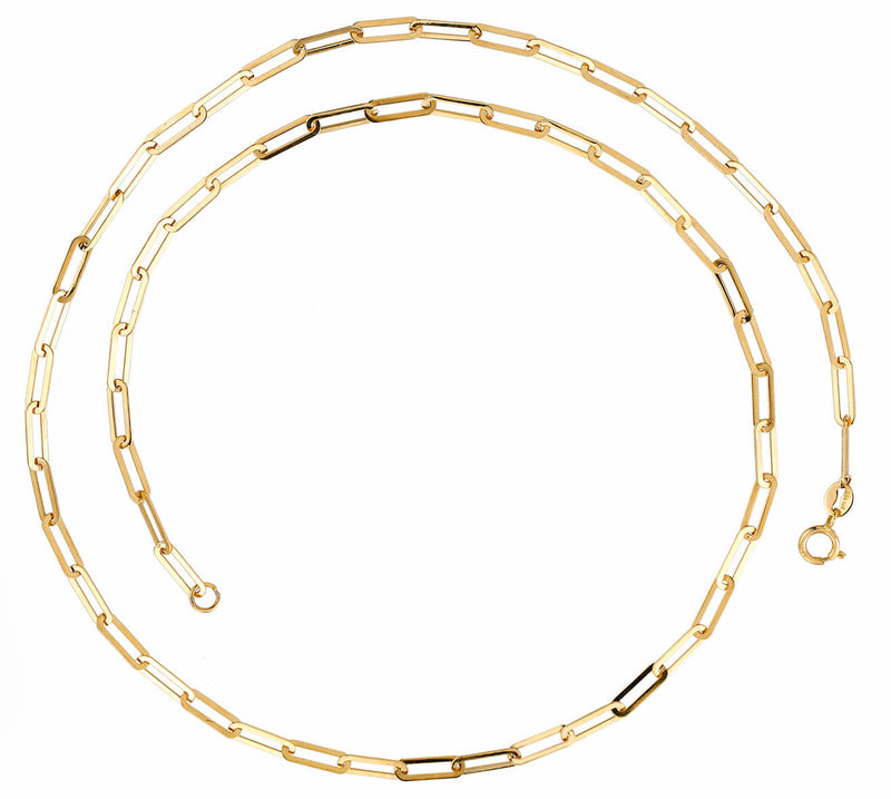 Thin Paper Clip Link (2.5mm X 10mm) Necklace 14K Yellow Gold (Only a Few Left!) (Buy Now!)