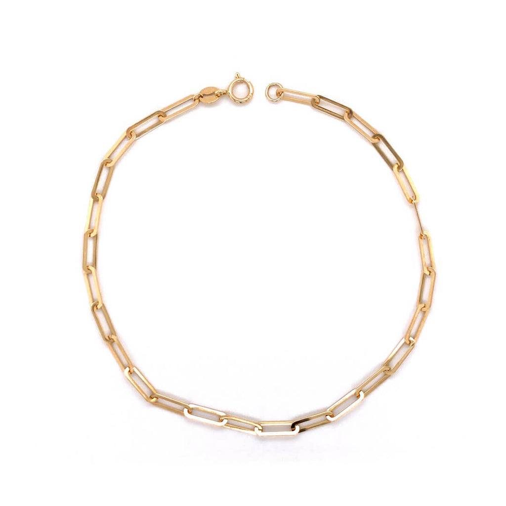 Thin Paperclip Bracelet Crafted in 14KY Gold