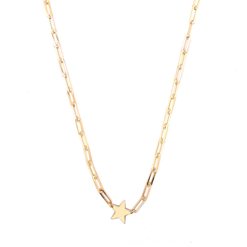 Star Paper Clip Necklace 14K Yellow Gold