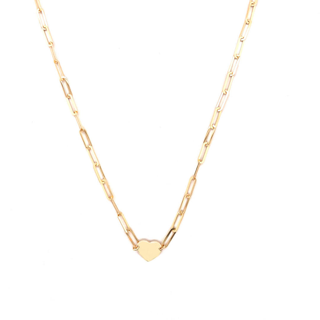 Heart Paper Clip Necklace 14K Yellow Gold