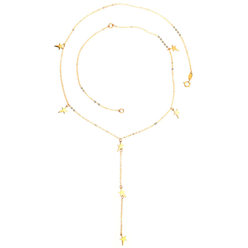 Lightning Star Lariat Necklace 14K Yellow Gold
