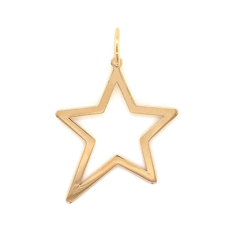 Large Open Star Charm 14K Yellow Gold