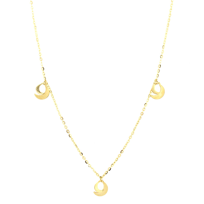 Double Crescent Moon Necklace 14K Yellow Gold
