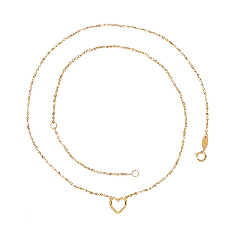Open Heart High Polish Necklace 14K Yellow Gold