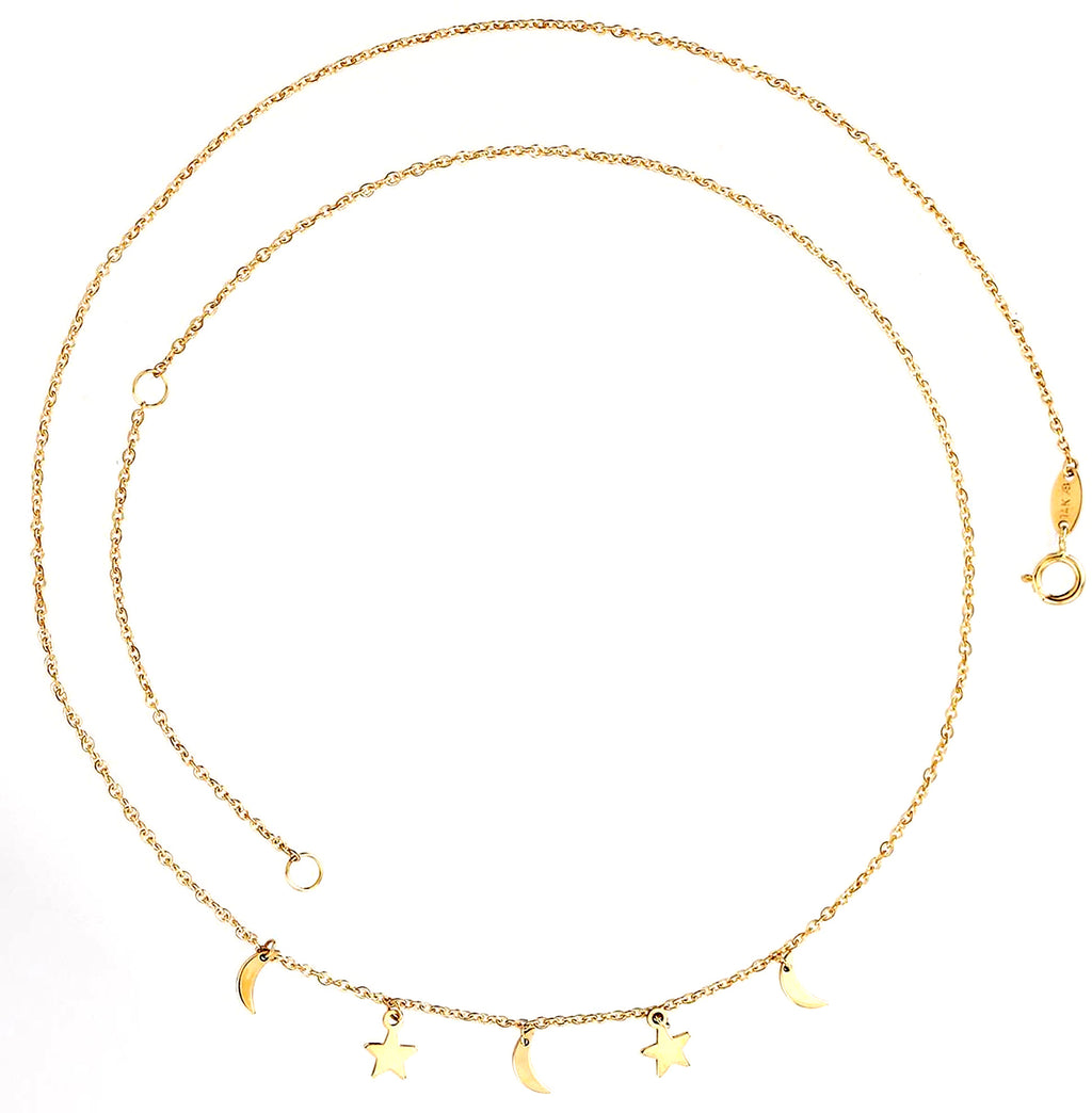 Dangling Moon & Star Necklace 14K Yellow Gold