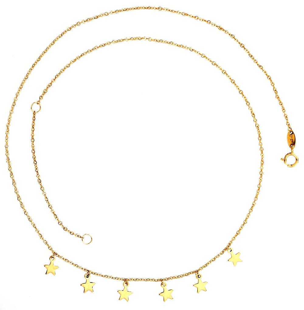 Dangling Stars Necklace 14K Yellow Gold