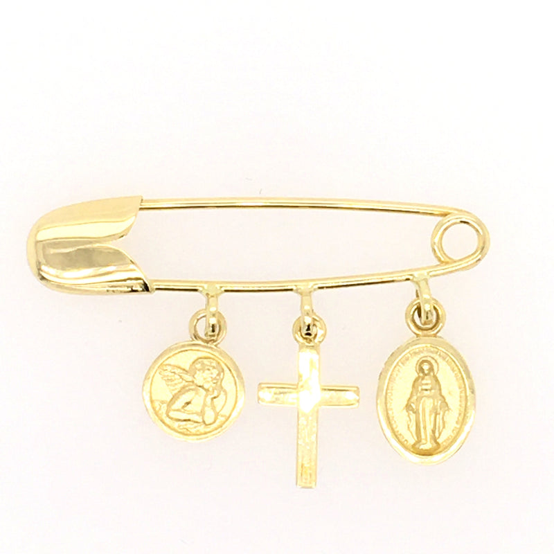 Baptismal Angel Cross and Miraculous Medal Baby Pin 14K Yellow Gold