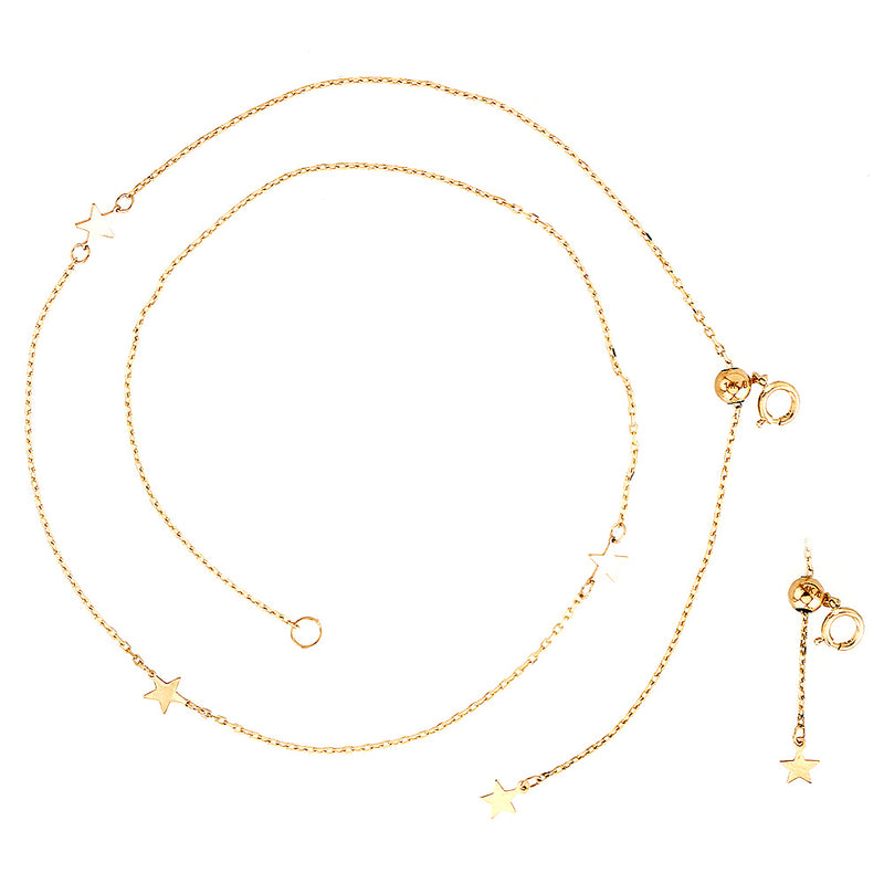 Miniature Star Choker Necklace 14KY Gold