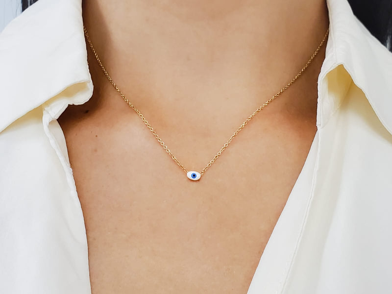 Miniature Evil Eye Necklace 14KY Gold (Back In Stock!)