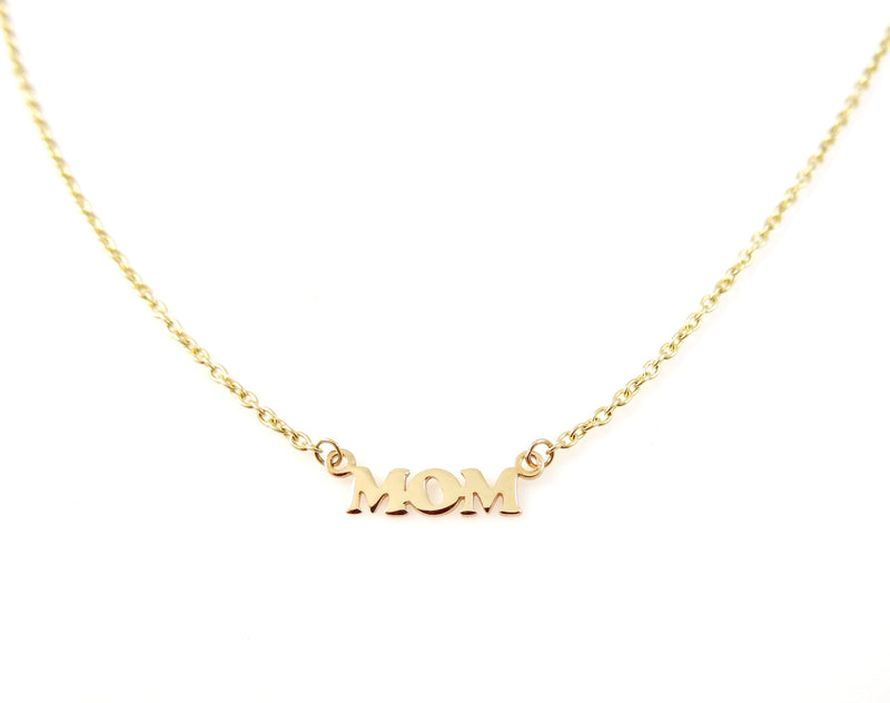 "Miniature ""Mom"" Cut Out Necklace 14KY Gold"