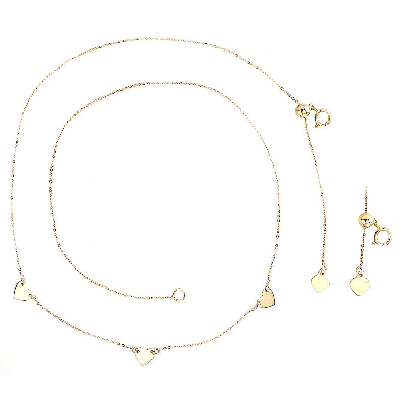 Small Three Heart Choker Necklace 14 Karat Gold