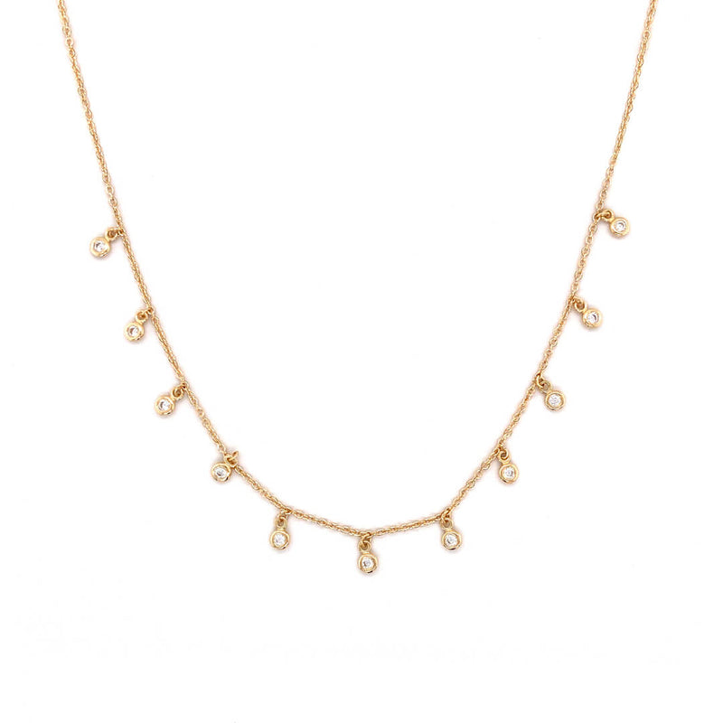 Dew Drop Dangle Necklace Crafted in 14 Karat Yellow Gold