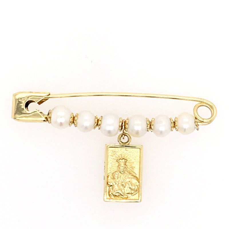 Miniature Scapular Medal Pearl Baby Pin 14K Yellow Gold