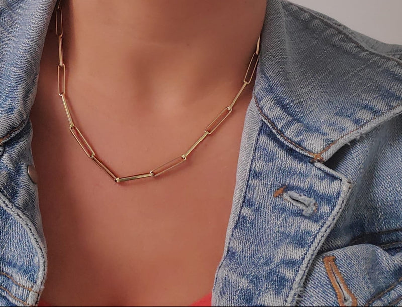 Paper Clip Long Link (4mm X 20mm) Chain Necklace 14KY Gold  (Back in Stock!) (Selling Fast!)