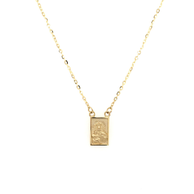 Single Small Scapular Medal Necklace 14 Karat Yellow Gold