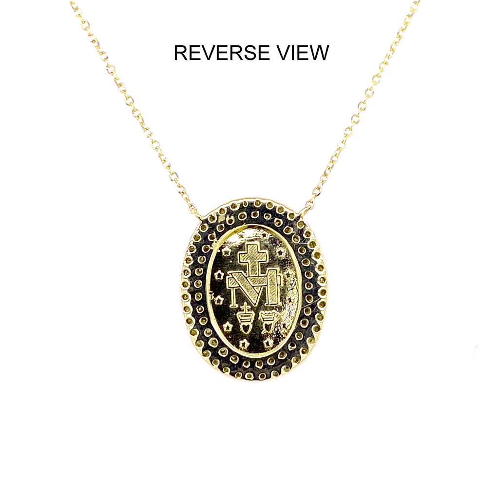 Double Row Diamond Gold Miraculous Medal Necklace 14K Gold