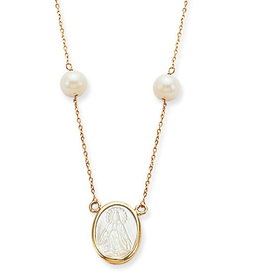 Pearl Cross Necklace in 14K Yellow Gold