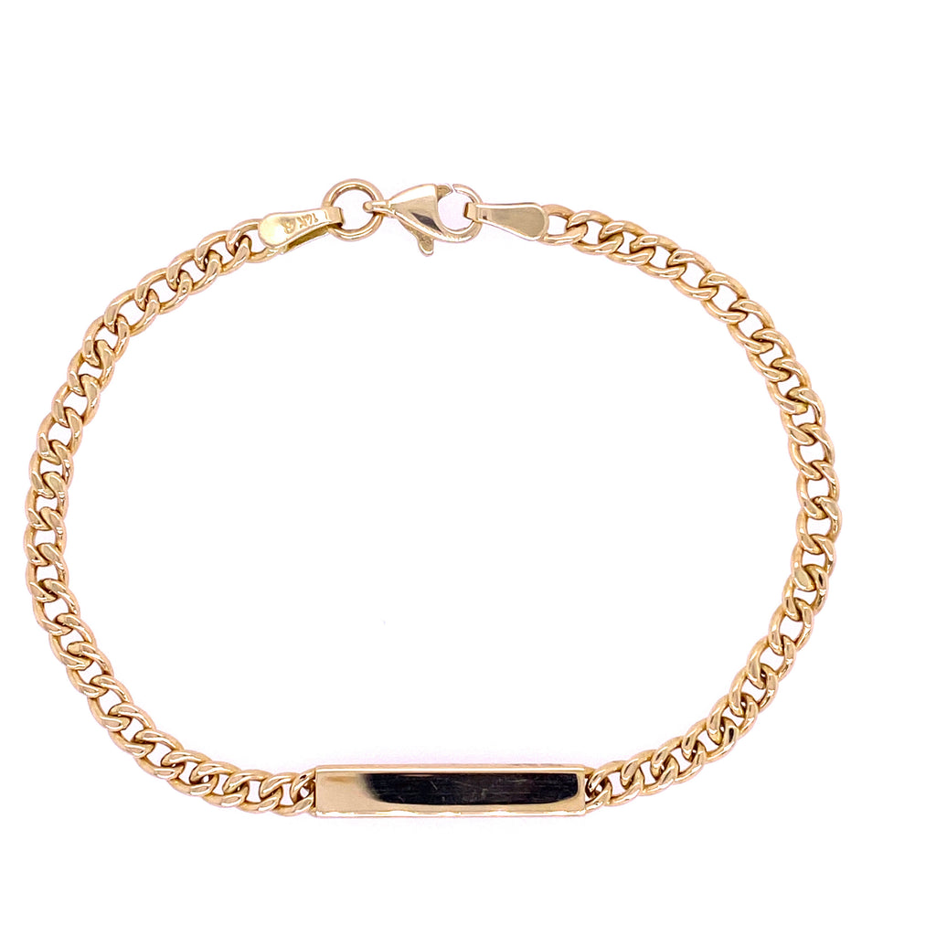 Curved Link ID Bracelet 14K Yellow Gold