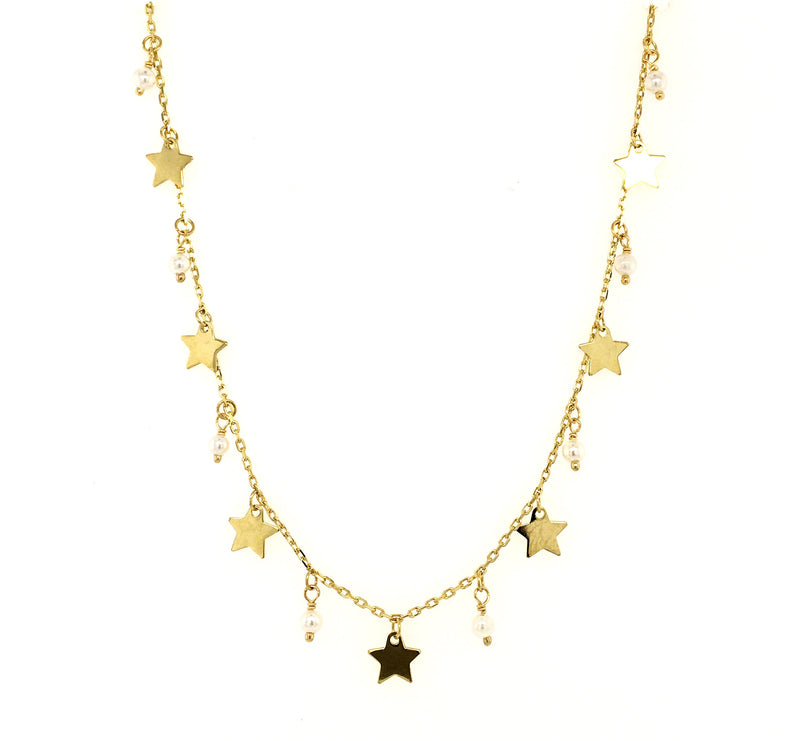 Dangling Stars and Pearls/Turquoise Shakespeare Necklace 14K Yellow Gold