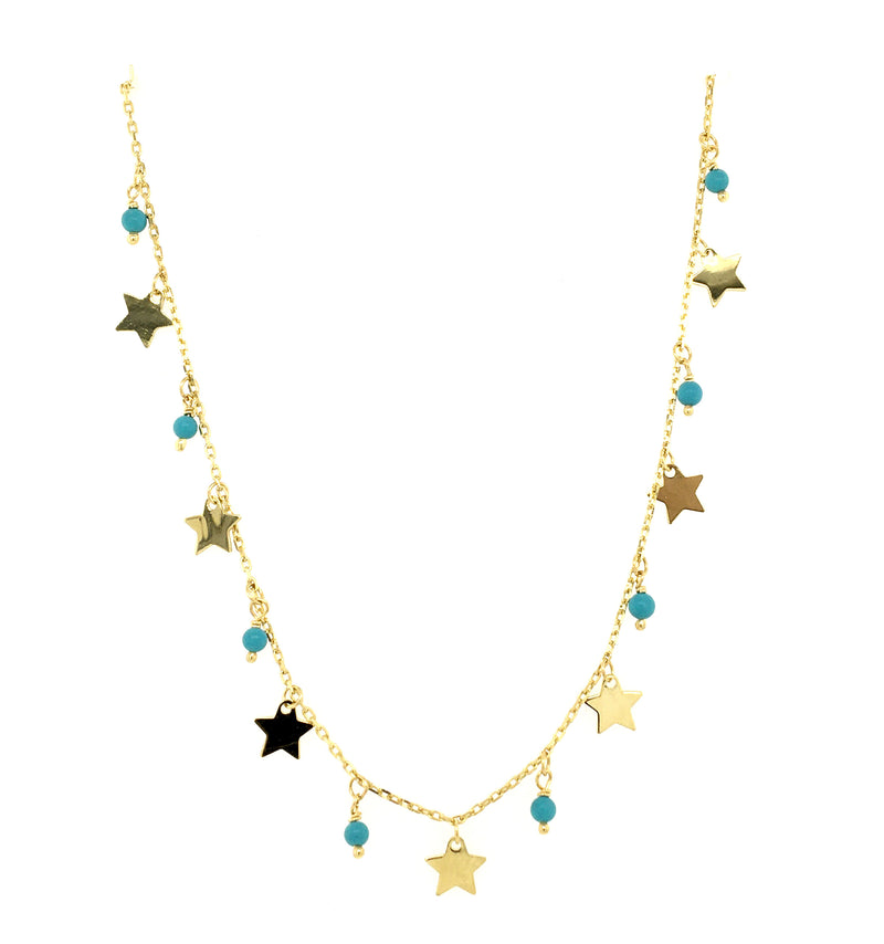Dangling Stars and Pearls/Turquoise Shakespeare Necklace 14K Yellow Gold (Only One Left!)