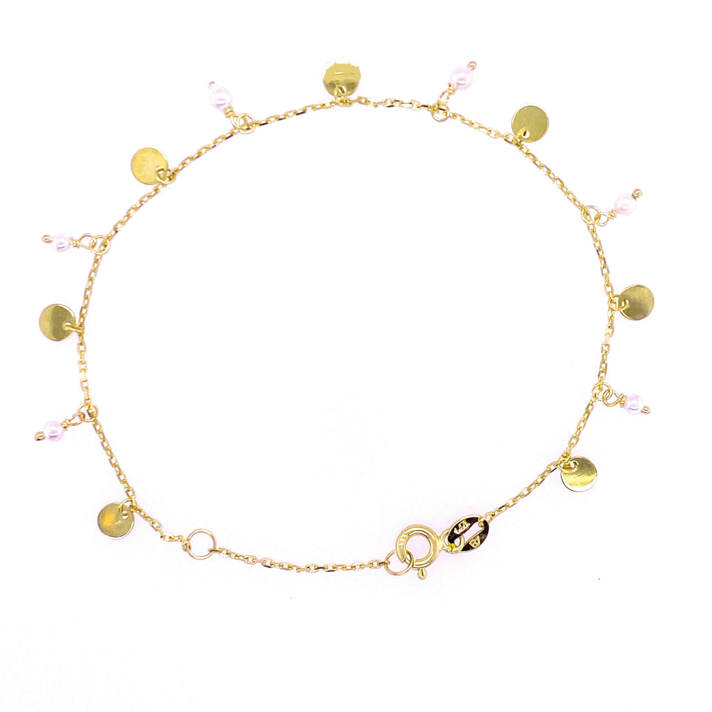 Dangling Circles and Pearls/Turquoise Shakespeare Bracelet 14K Yellow Gold