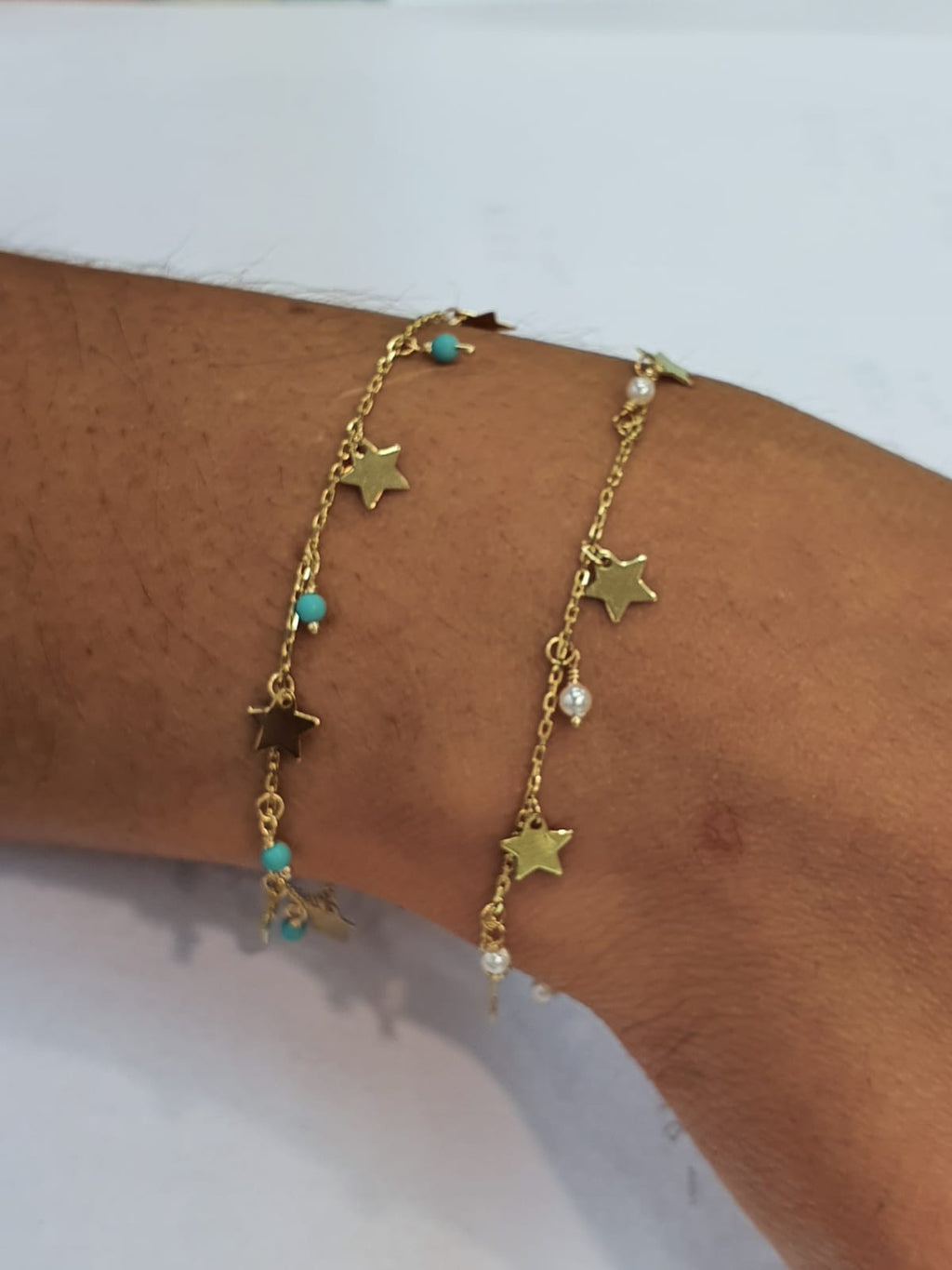 Dangling Stars & Pearl/Turquoise Bracelet 14K Yellow Gold