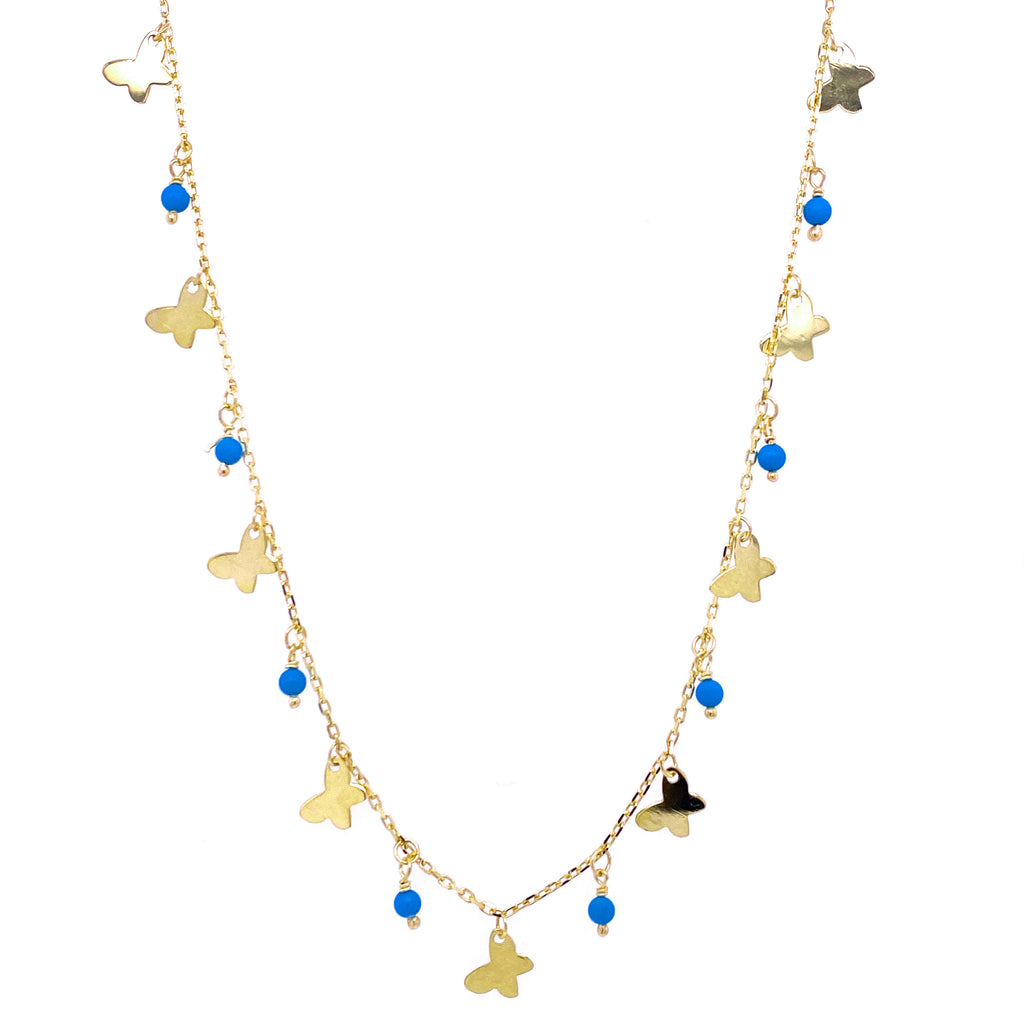 Dangling Butterflies and Pearls/Turquoise Beads Necklace 14K Yellow Gold