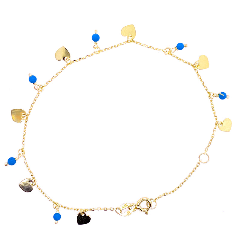 Dangling Hearts and Pearls/Turquoise Bracelet 14K Yellow Gold
