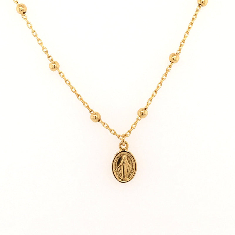 Miniature Miraculous Medal Beaded Necklace 14KY Gold