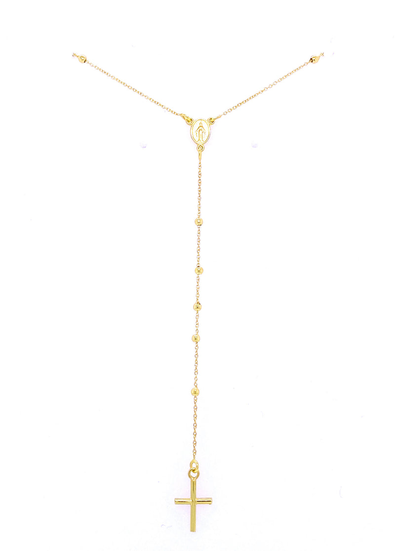 Thin Traditional Rosary Necklace 14K Yellow Gold