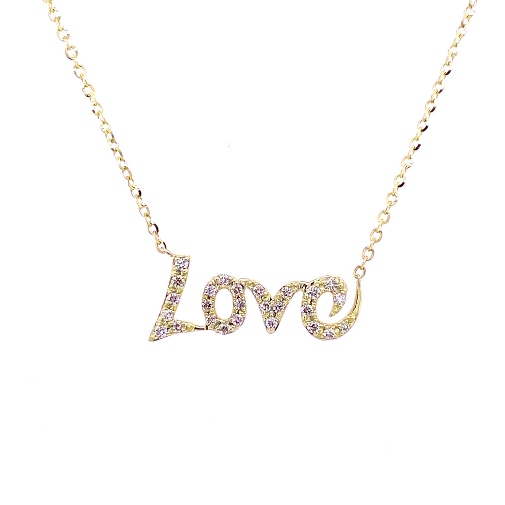 Fancy Diamond LOVE Necklace 14K Gold