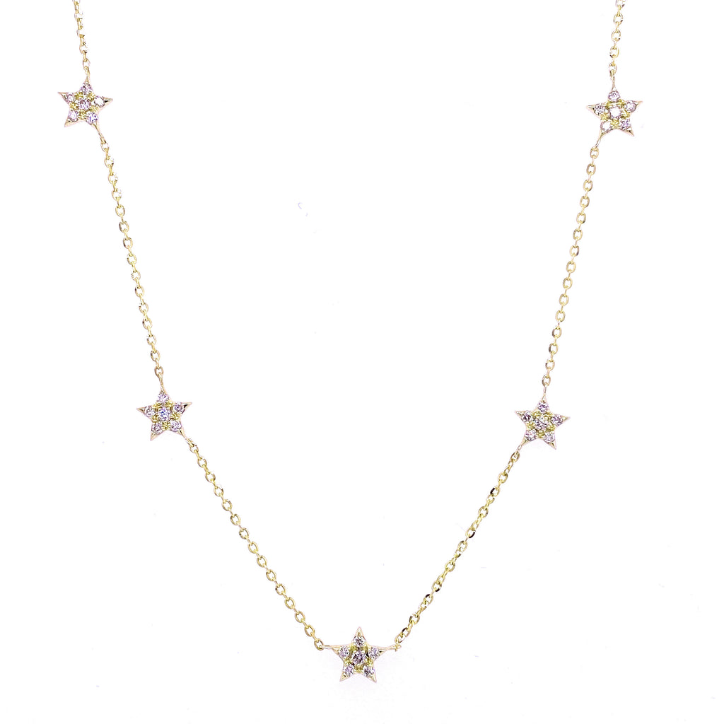 Five Diamond Star Stationed Necklace 14K Gold