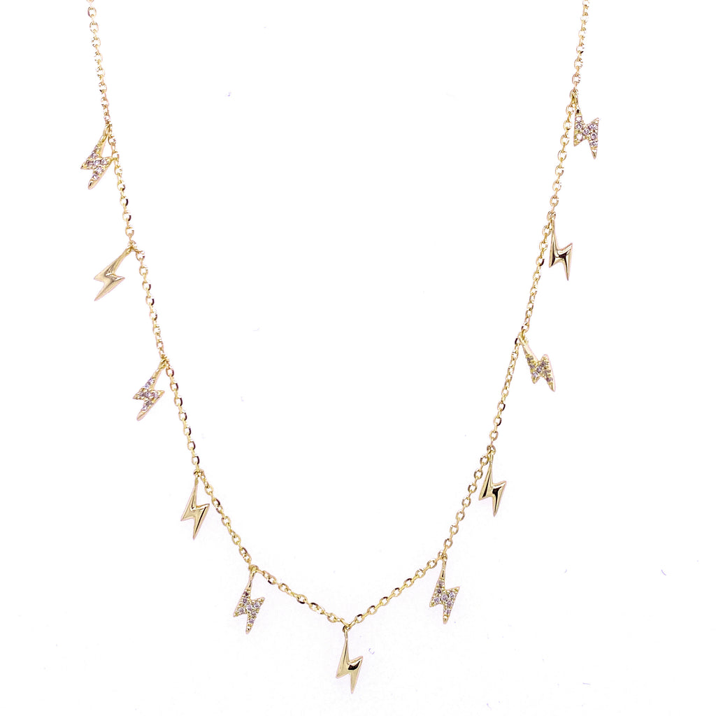 Diamond Multiple Dangling Lightning Bolts Necklace 14K Gold