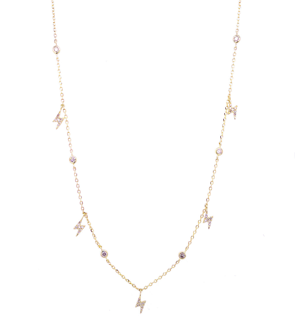 Diamond Bezel Lightning Bolt Necklace 14K Gold