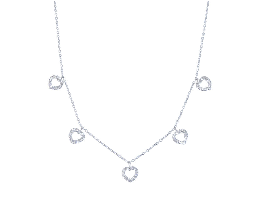 Diamond Dangle Heart Necklace 14K Gold