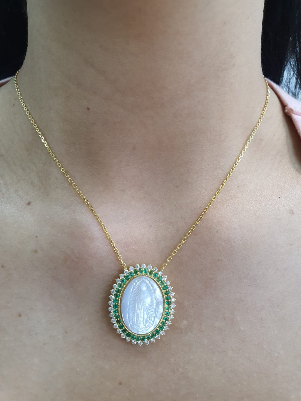 Mother of Pearl Guadalupe Medal Framed in Color Stone & Diamonds  Necklace  14K Gold