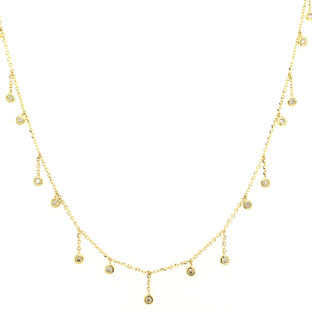 Icicle Dangling Diamond Bezel Necklace 14K Yellow Gold (Only One Left!)