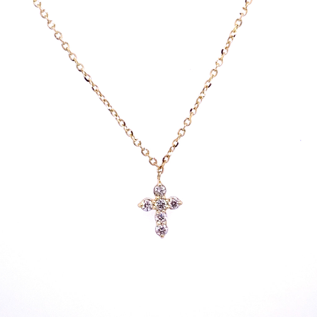 Extra Miniature Diamond Cross Necklace 14K Gold